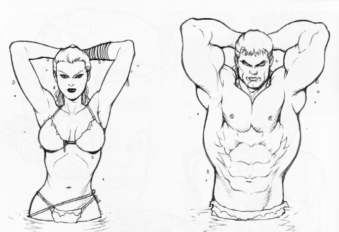 687x470 Male and female torso muscle reference for artists. The artist
