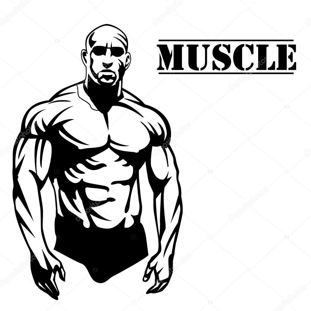 1024x1024 Muscle Man Vector Illustration Stock Vector Caps Lock