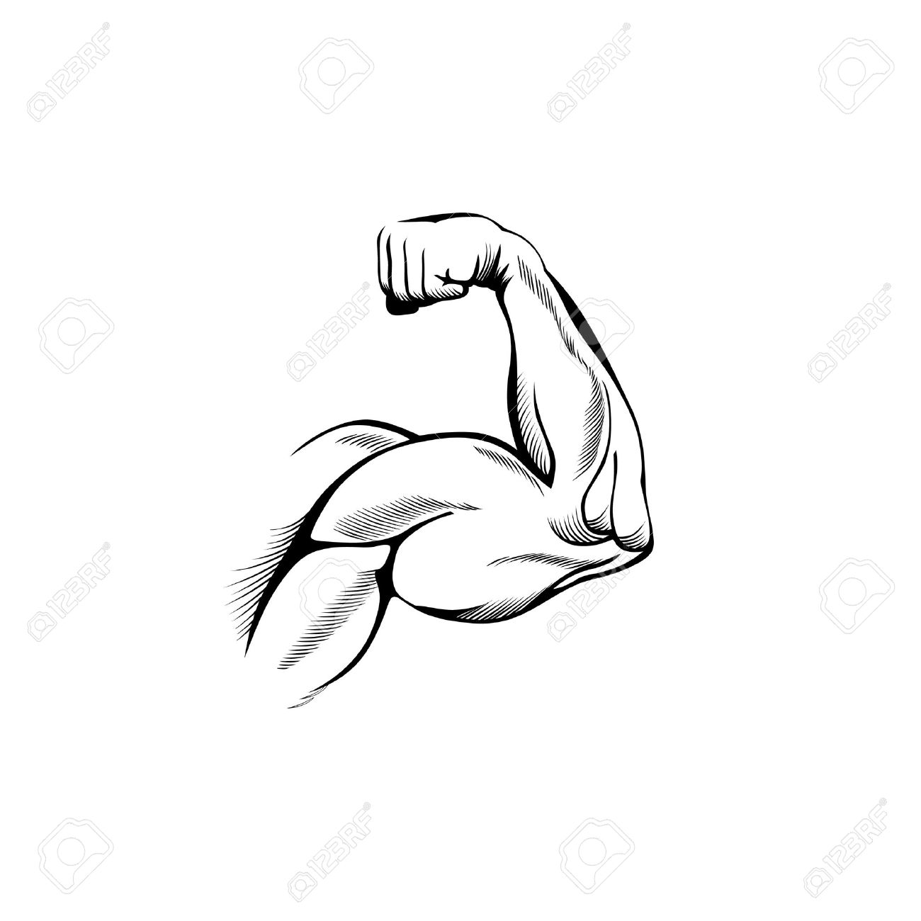 1300x1300 Arm Muscles (Sketch Mans Hand On White) Royalty Free Cliparts