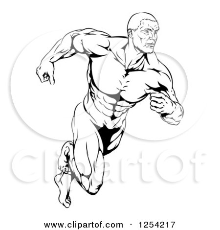 450x470 Clipart Illustration Of A Strong Body Builder Holding A Heavy