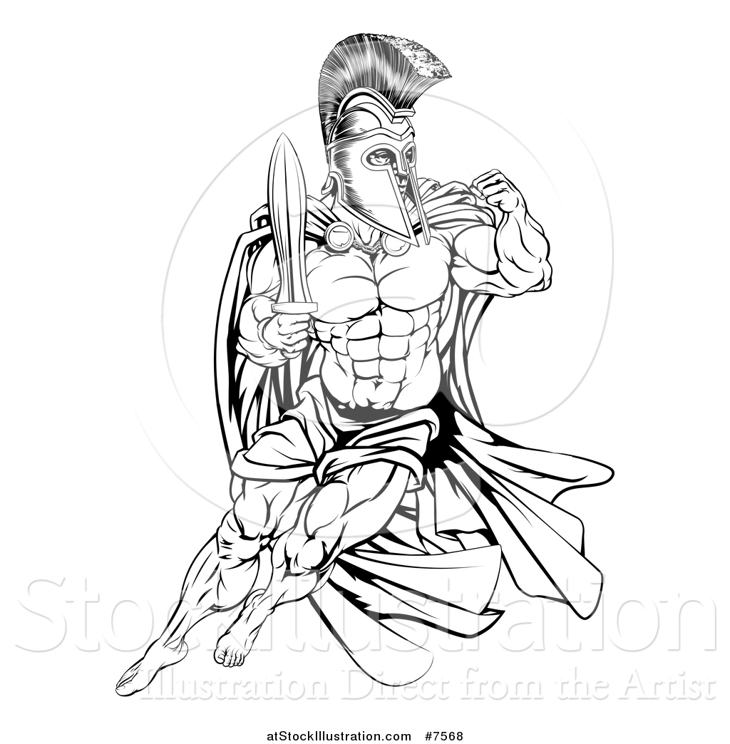 1024x1044 Vector Illustration Of A Black And White Muscular Gladiator Man