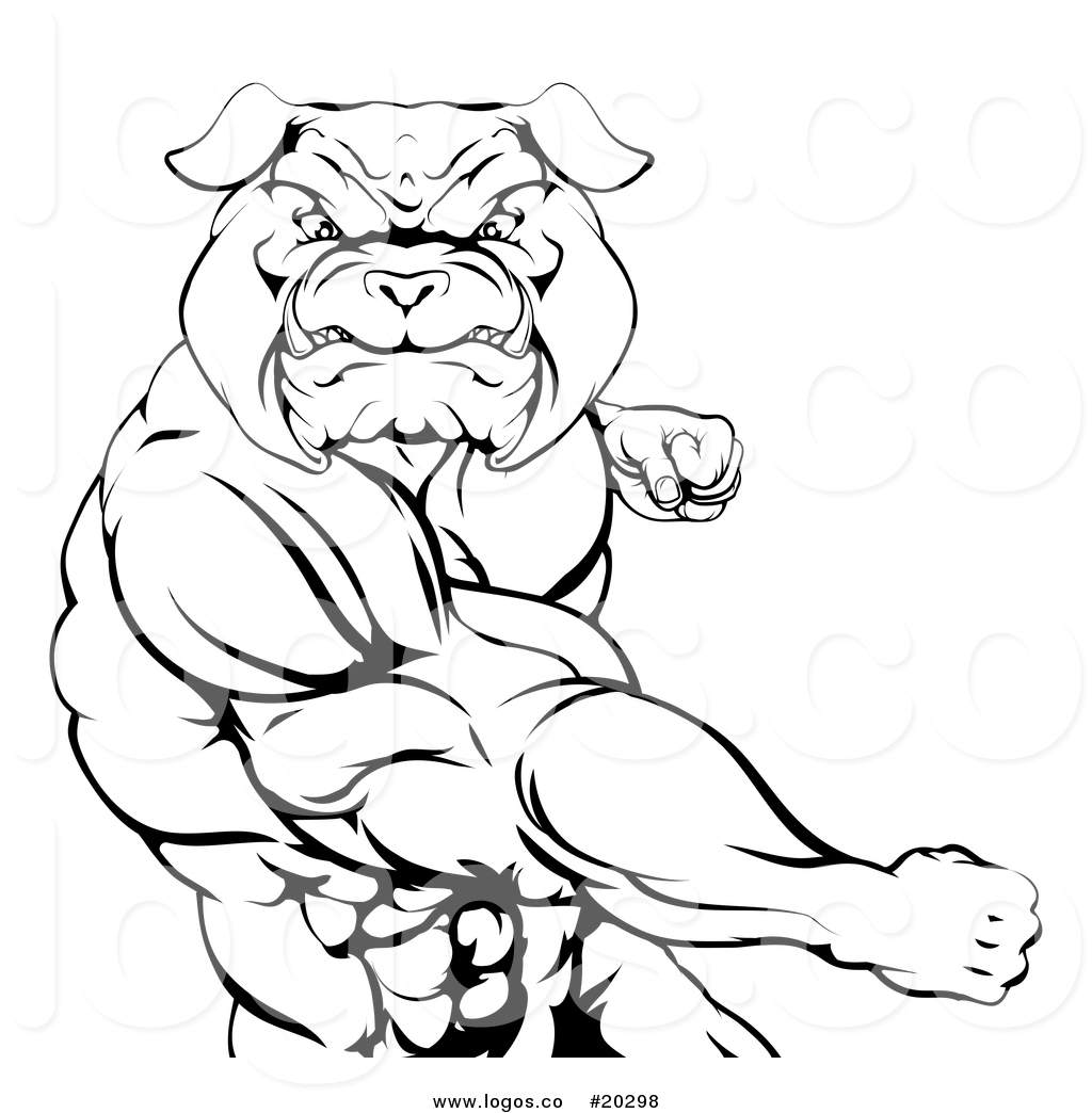 1024x1044 Vector Logo Of A Black And White Angry Muscular Bulldog Man