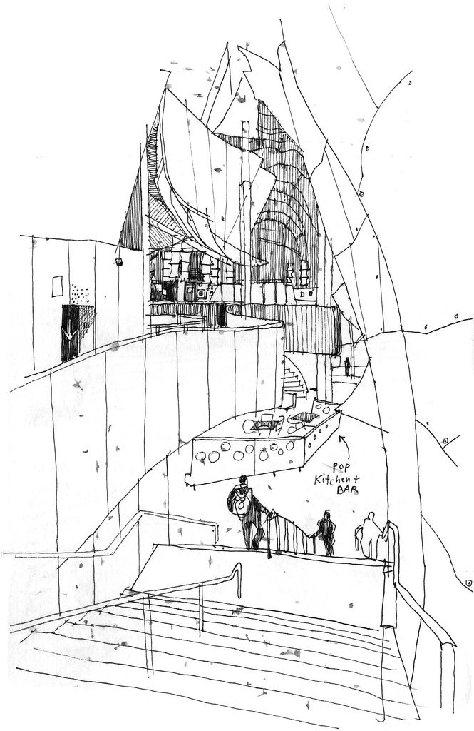 665x1024 Frank Gehry Famous Building Drawing Urban Sketchers Rain