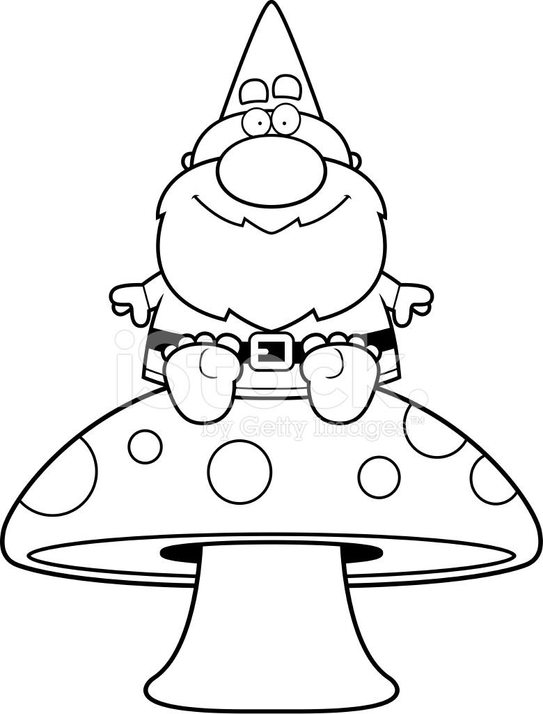 780x1024 Cartoon Gnome Mushroom Stock Vector