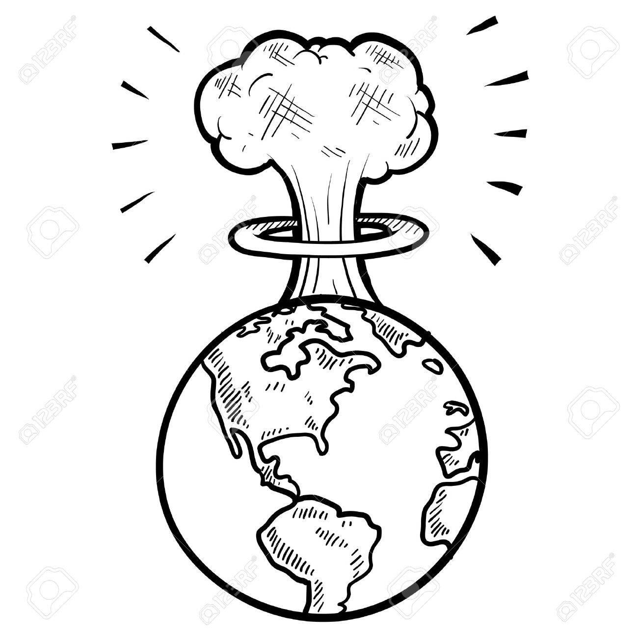 1300x1300 Doodle Style Global Apocalypse With Mushroom Cloud Sketch