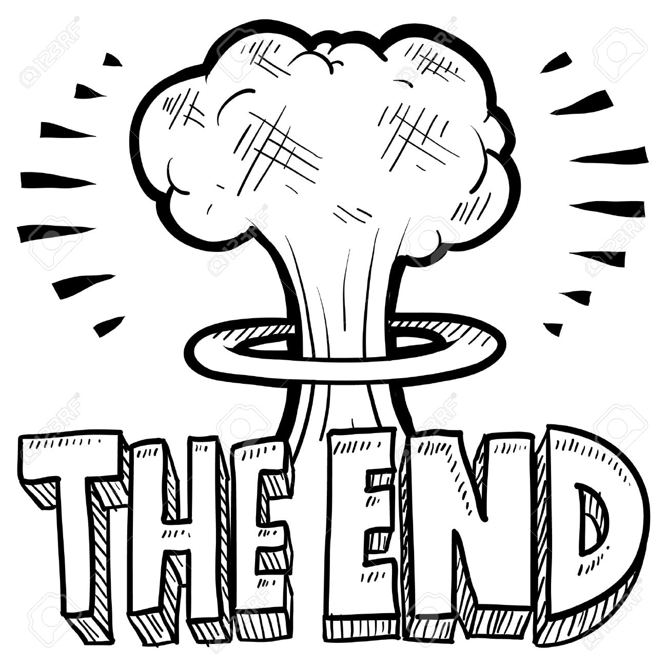 1300x1300 Doodle Style The End Sketch With Cartoon Mushroom Cloud And Text