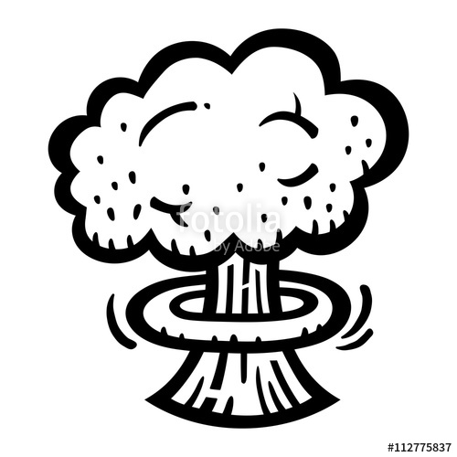 500x500 Mushroom Cloud Atomic Nuclear Bomb Explosion Fallout Vector Icon
