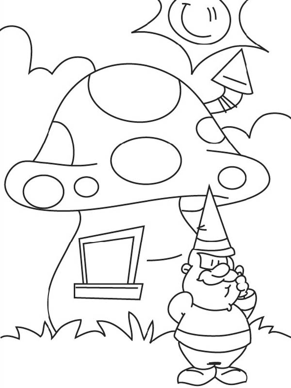 600x800 Fairy Mushroom House Coloring Page
