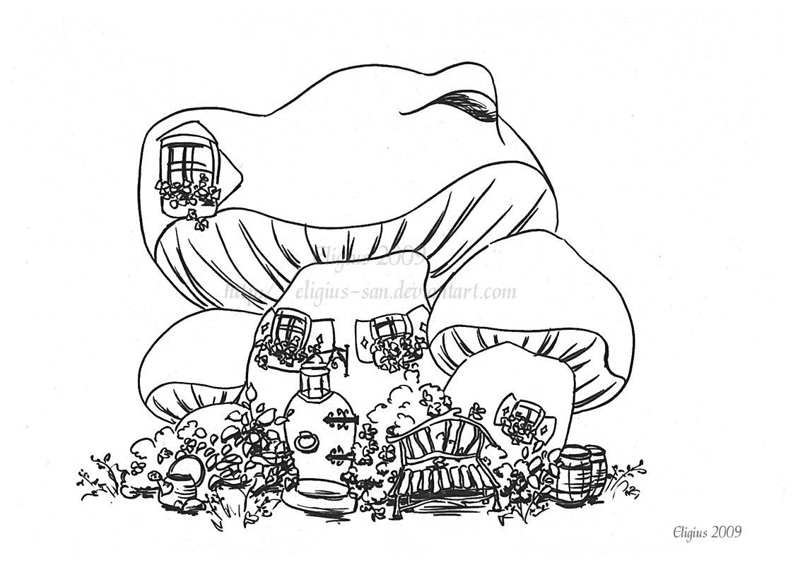 1129x800 Mushroom House Lineart 1 By Eligius San
