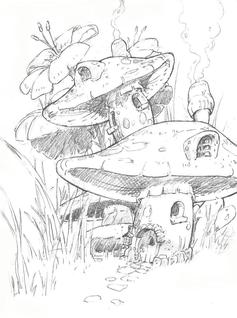 771x1036 Mushroom House By Unrealprogrammer