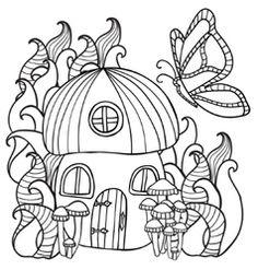 236x247 Mushroom House Zentangle Stylized Cartoon Isolated On White