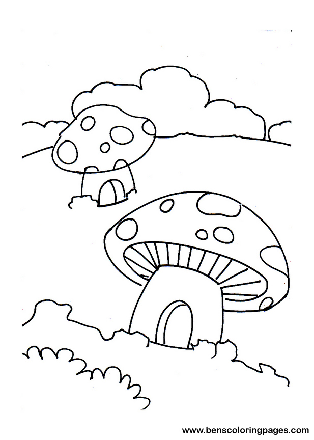617x864 Mushroom House Coloring Page