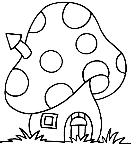 539x640 Cartoon Mushroom Coloring Pages House
