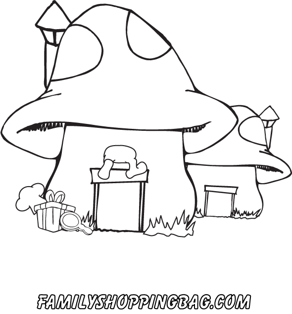 590x636 Smurf Mushroom House Coloring Pages