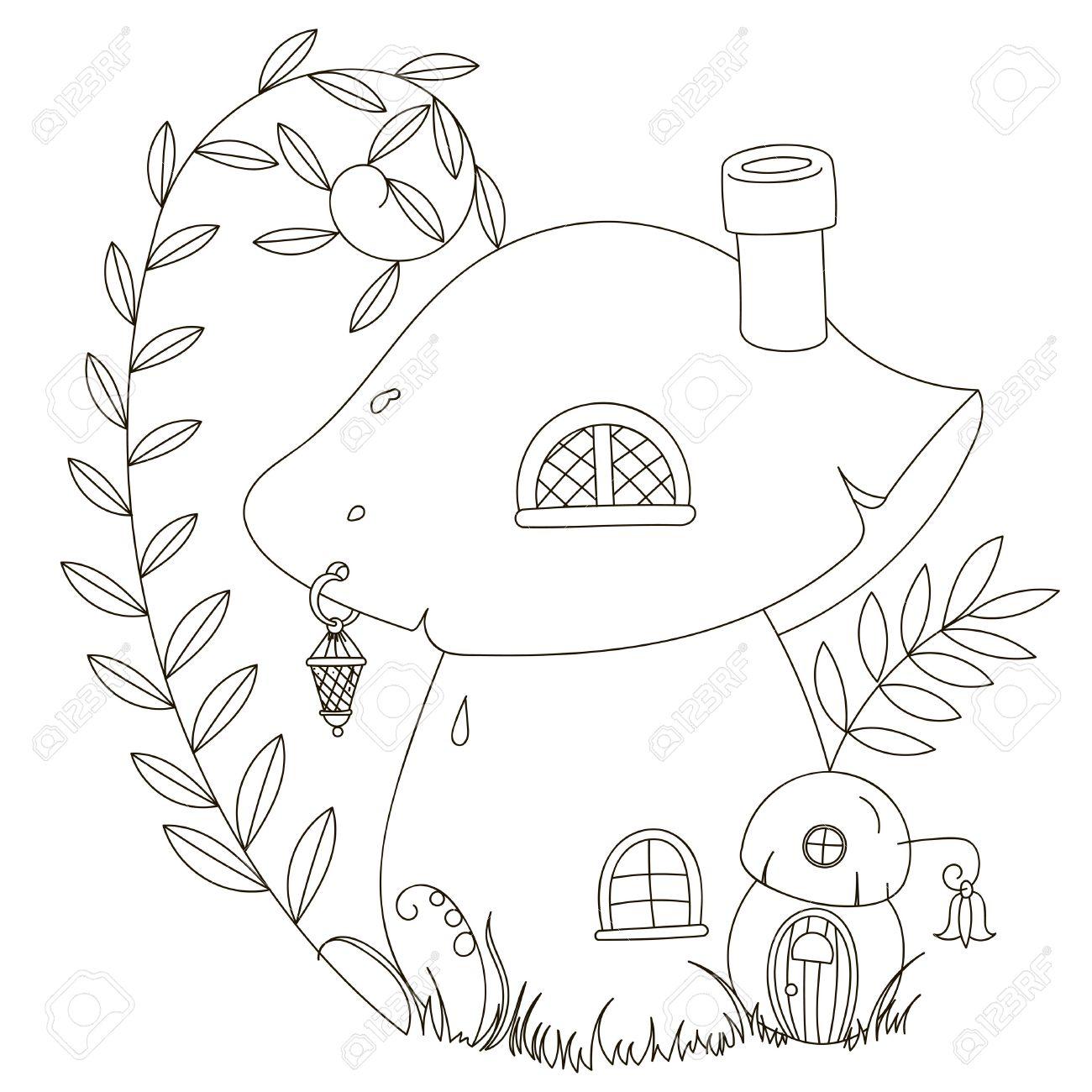 1300x1300 Fairy Cartoon Mushroom House. Coloring. Black Contour On A White