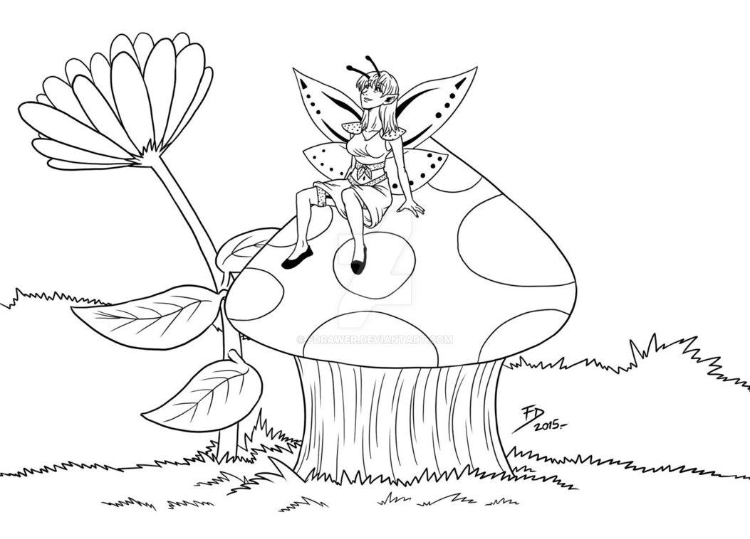 1053x758 Fairy A Mushroom Lineart By Fdrawer