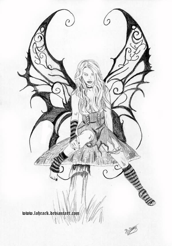 600x859 Grey Ink Evil Fairy On Mushroom Tattoo Design