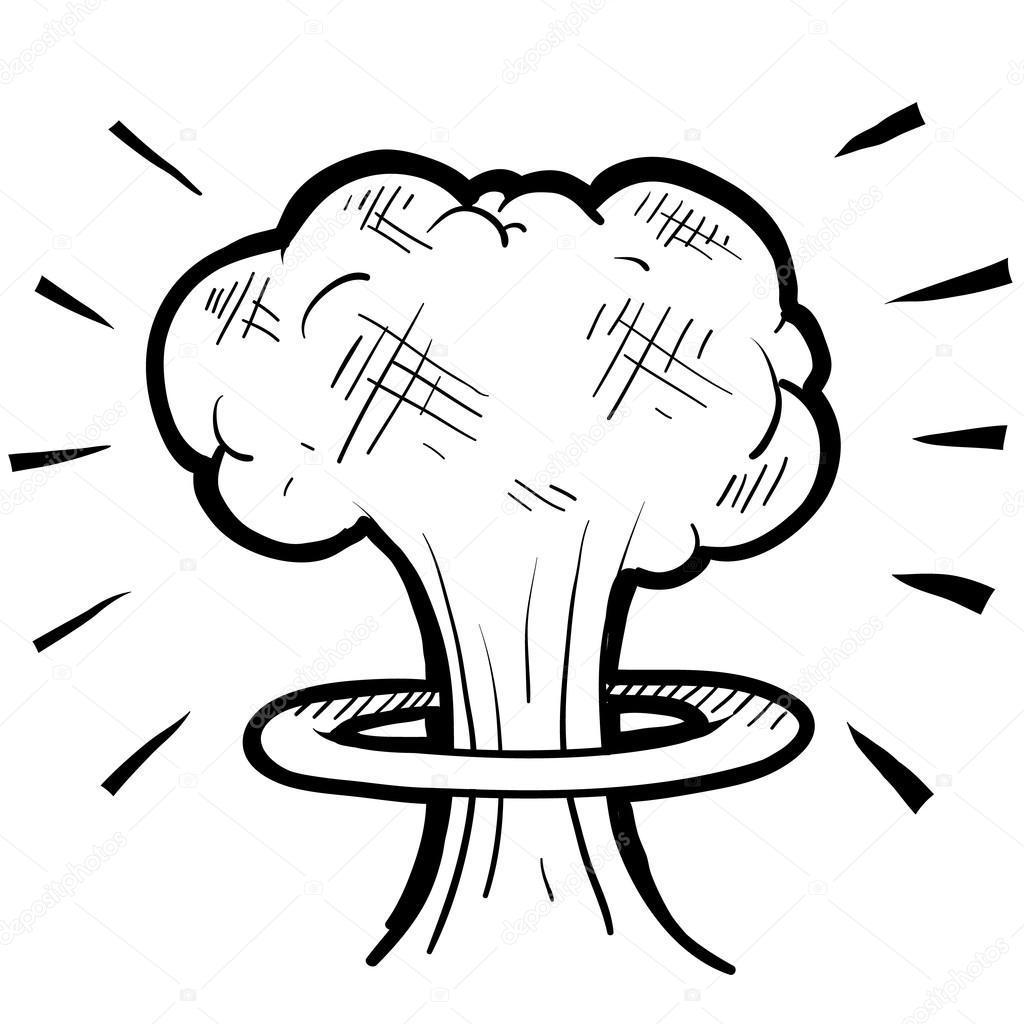 1024x1024 Hd Top Stock Illustration Nuclear Mushroom Cloud Sketch Image Clip