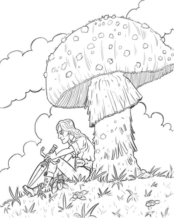 576x720 Shade Under The Mushroom Line Drawing Palacio Illustration