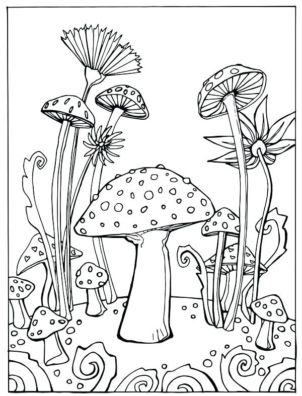 600x787 Trippy Mushroom Coloring Pages Mushrooms Home Grown Linert By