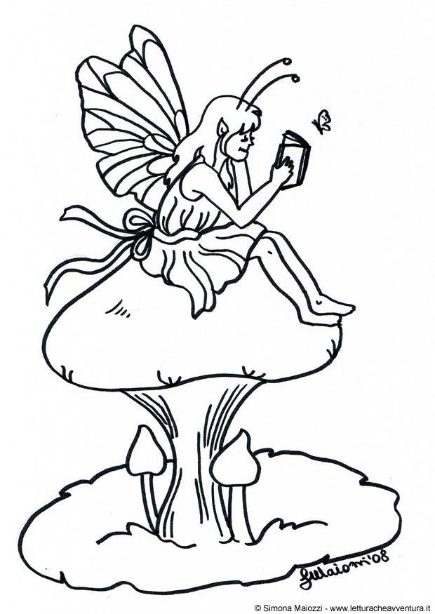 620x875 Coloring Page Fairy On Mushroom