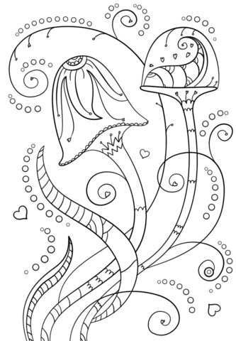 333x480 Psychedelic Mushrooms Coloring Page Free Printable Coloring Pages