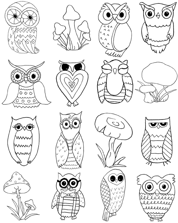576x720 Free Owls And Mushrooms Coloring Page!