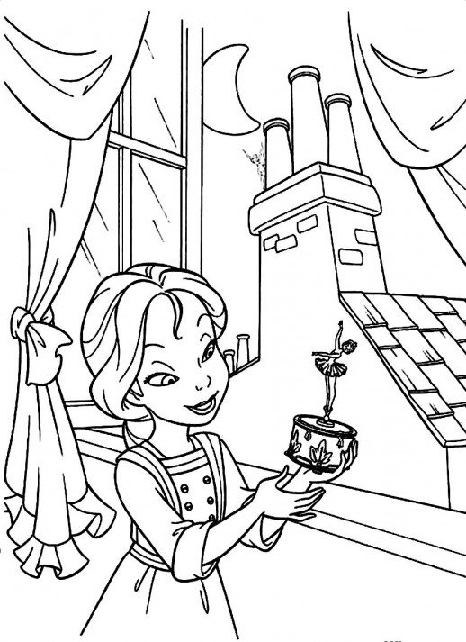 518x713 A Girl Playing A Music Box Tinkerbell Coloring Pages