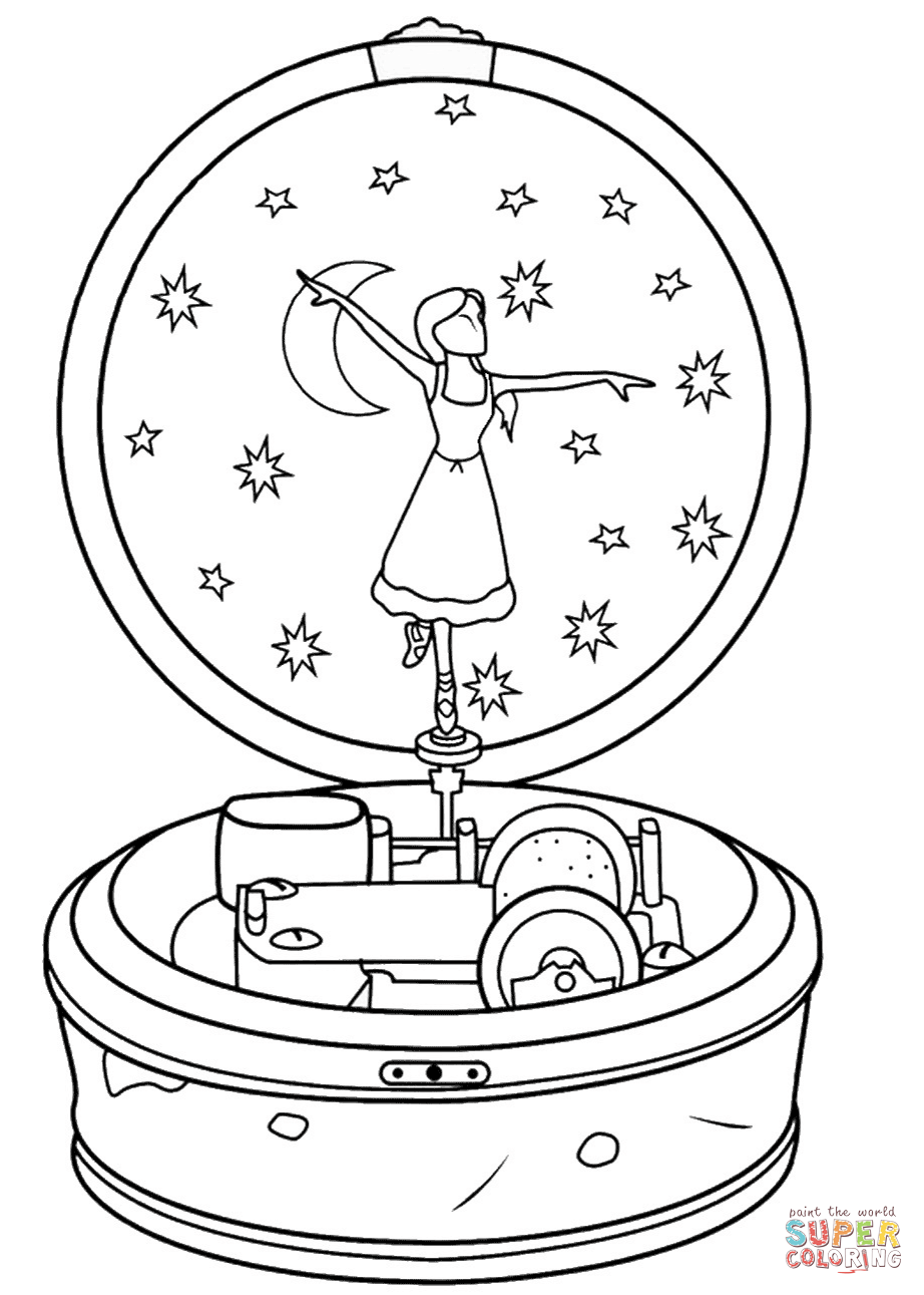 922x1291 Ballerina Music Box Coloring Page Free Printable Coloring Pages