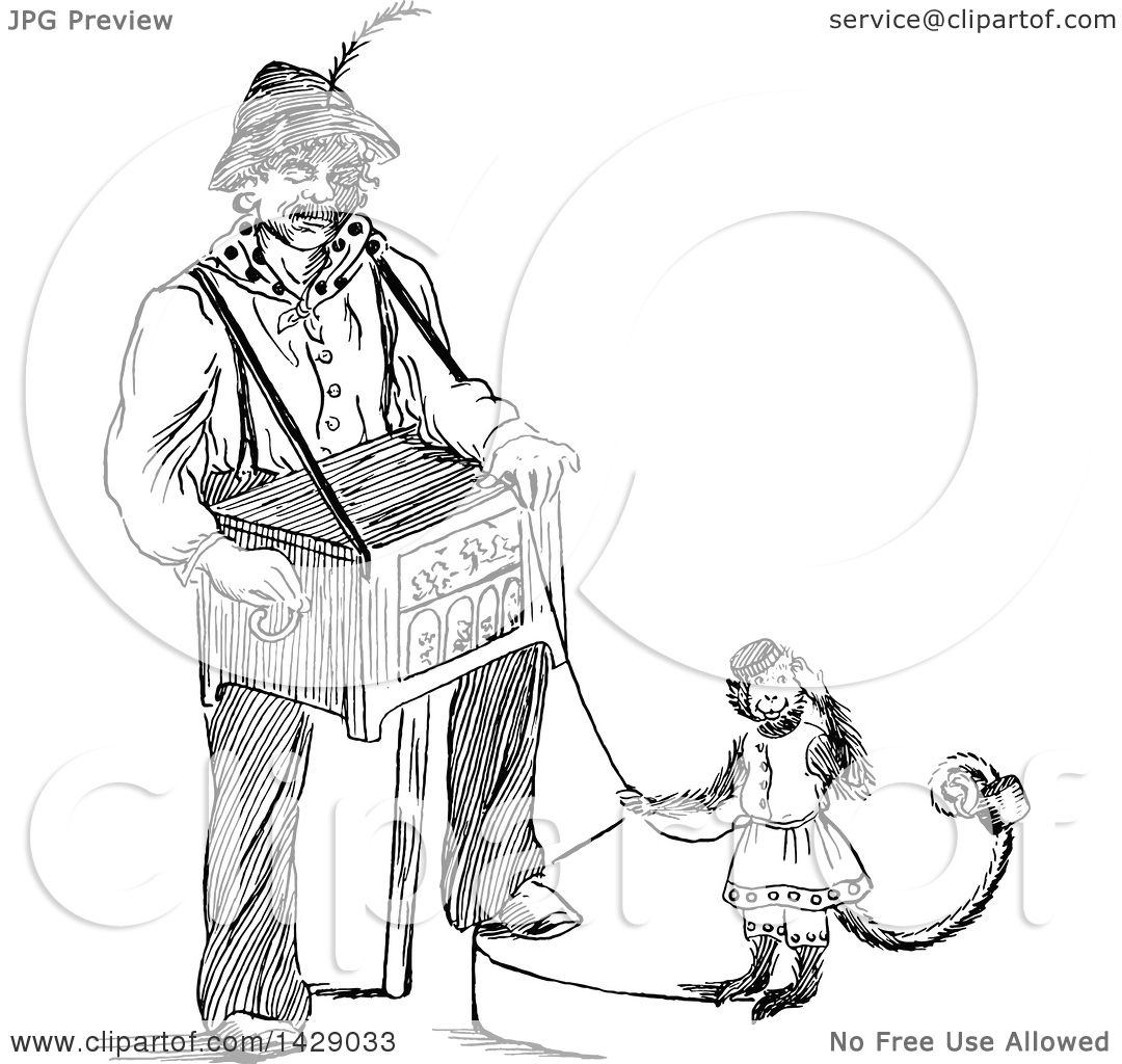 1080x1024 Clipart Of A Vintage Black And White Sketched Man With A Music Box