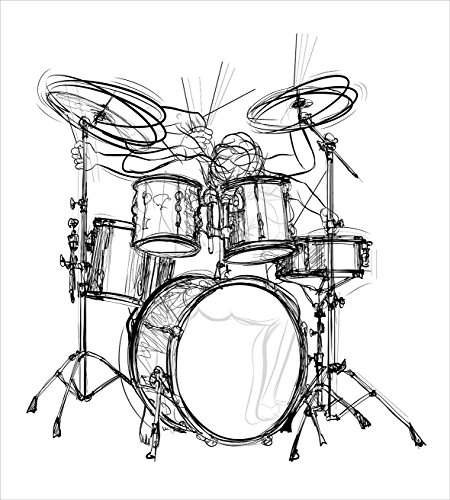 450x500 Rock Music Duvet Cover Set Twin Size By Ambesonne, Doodle Drawing