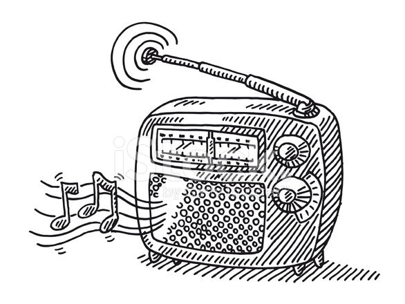 586x440 Vintage Radio Music Drawing Stock Vector