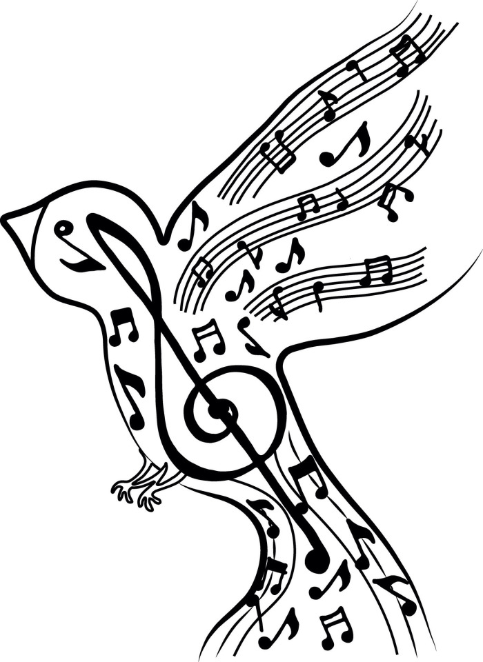 700x960 Line Drawings Of Birds And Music Notes
