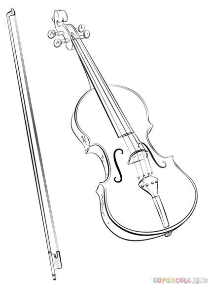 422x575 How To Draw A Violin And Bow Step By Step Drawing Tutorials