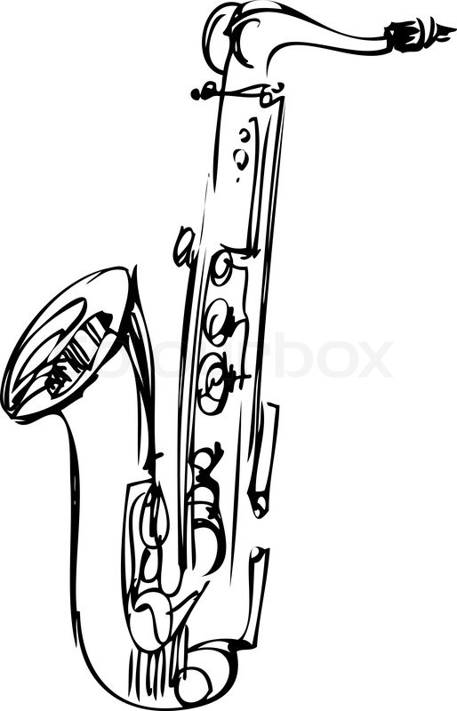 514x800 A Sketch Brass Alto Saxophone Musical Instrument Stock Vector