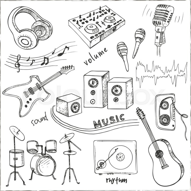 800x799 Abstract Music Background With Musical Instruments.hand Drawing