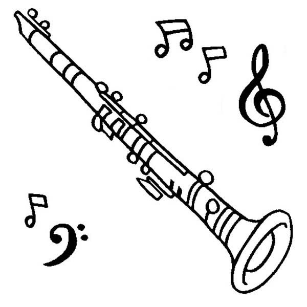600x600 Clarinet Is A Musical Instruments Coloring Pages Bulk Color