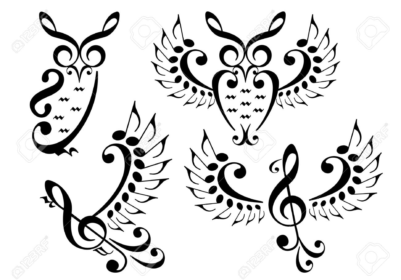 1300x909 Music Owl And Flying Bird Made Of Musical Notes, Vector Set