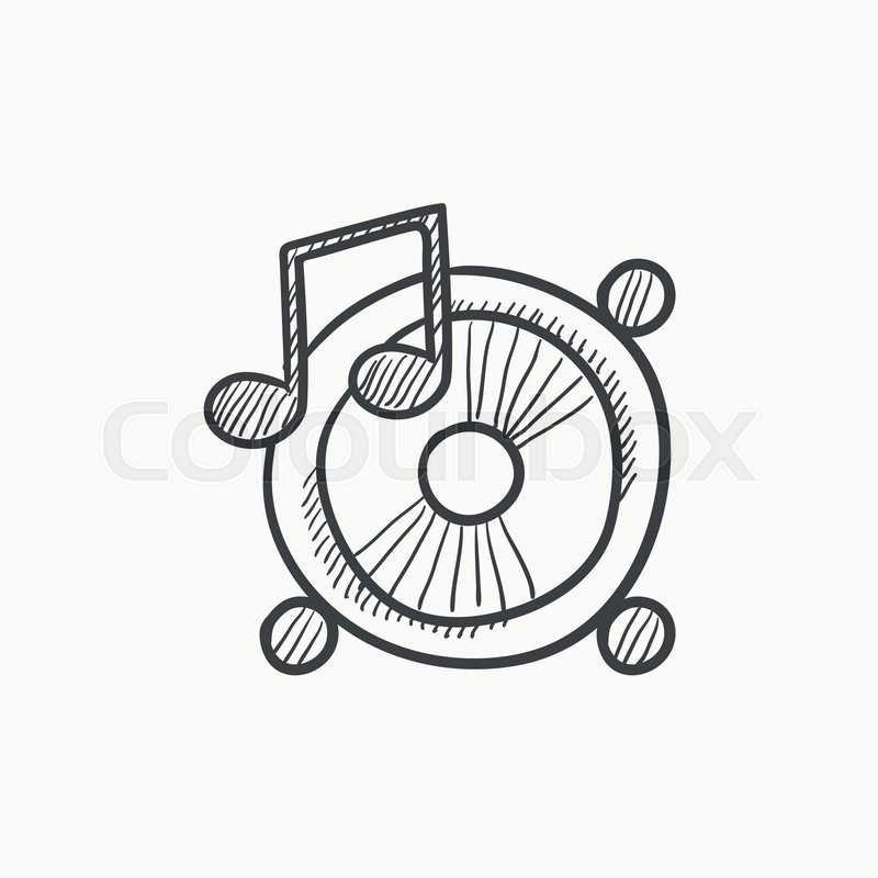 800x800 Loudspeakers With Music Note Vector Sketch Icon Isolated