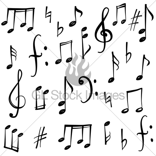 500x500 Music Notes, Signs Set. Hand Drawn Music Symbol Sketch Co Gl
