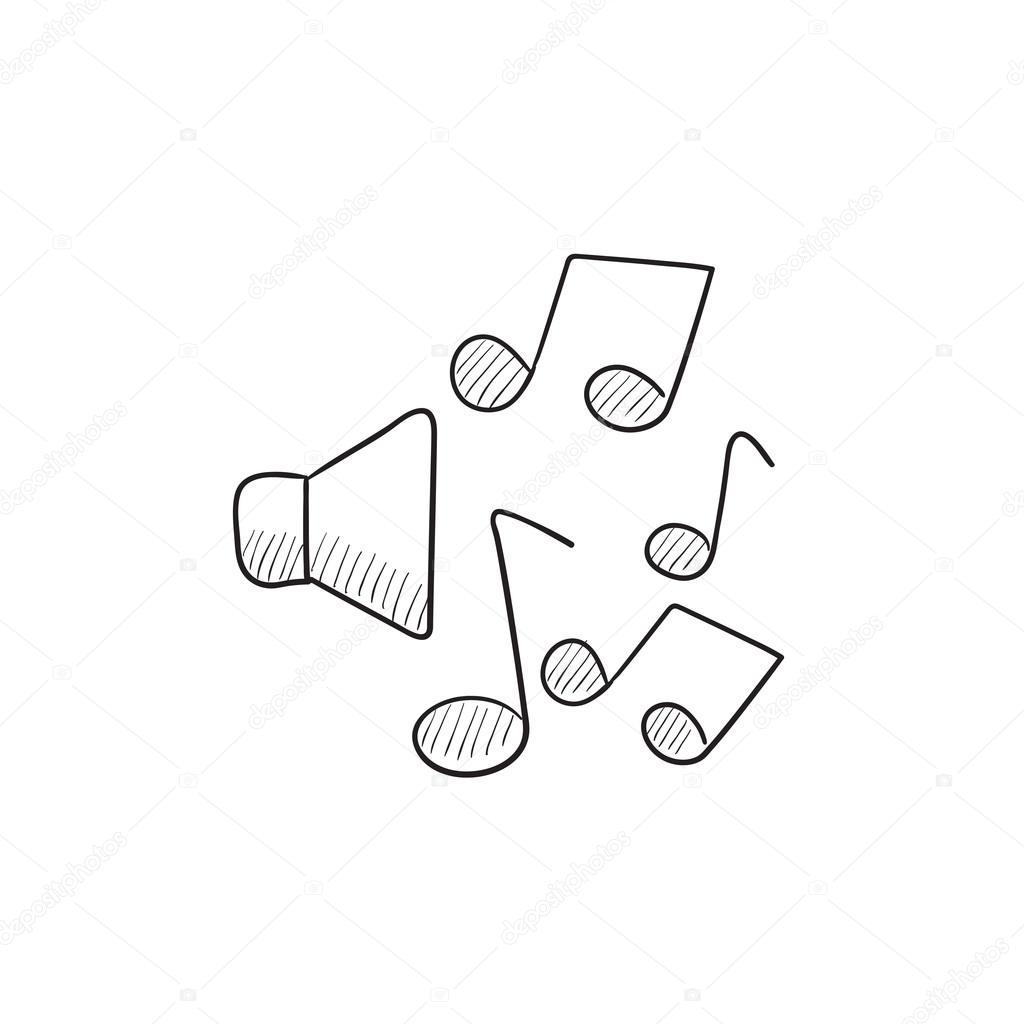 1024x1024 Loudspeakers with music notes sketch icon. — Stock Vector