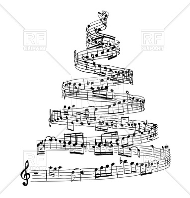 383x400 Christmas tree from music notes Royalty Free Vector Clip Art Image