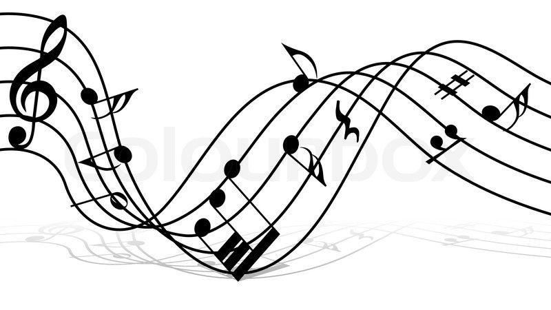 800x450 Vector musical notes staff background for design use Stock