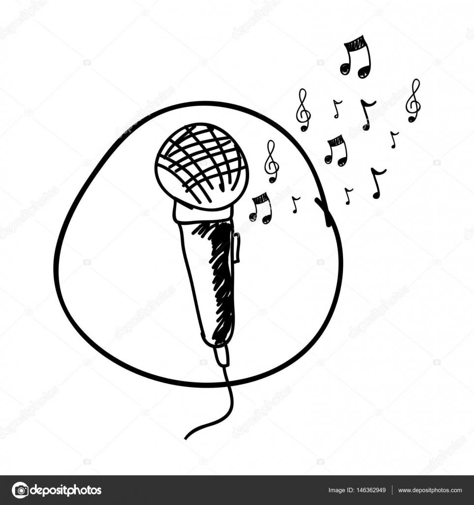 963x1024 monochrome hand drawing of microphone in circle and musical notes