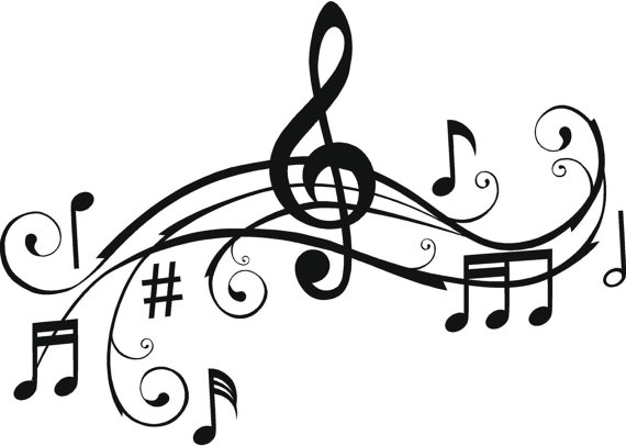 570x406 Music Notes, Wall Art Words, Vinyl Lettering, Stickers, Decals