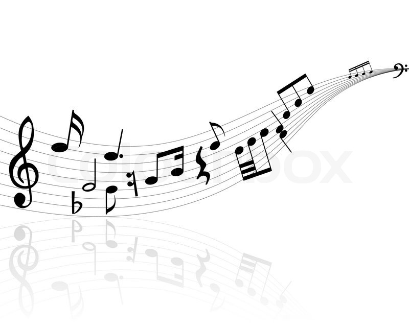 800x640 Musical Notes Background With Lines Vector Illustration Stock