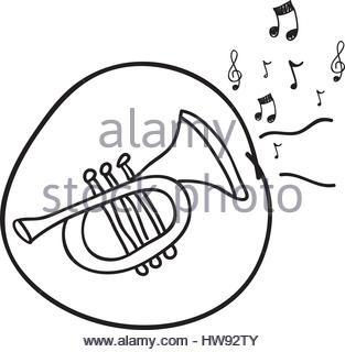313x320 Trumpet And Music Notes Illustration Stock Vector Art