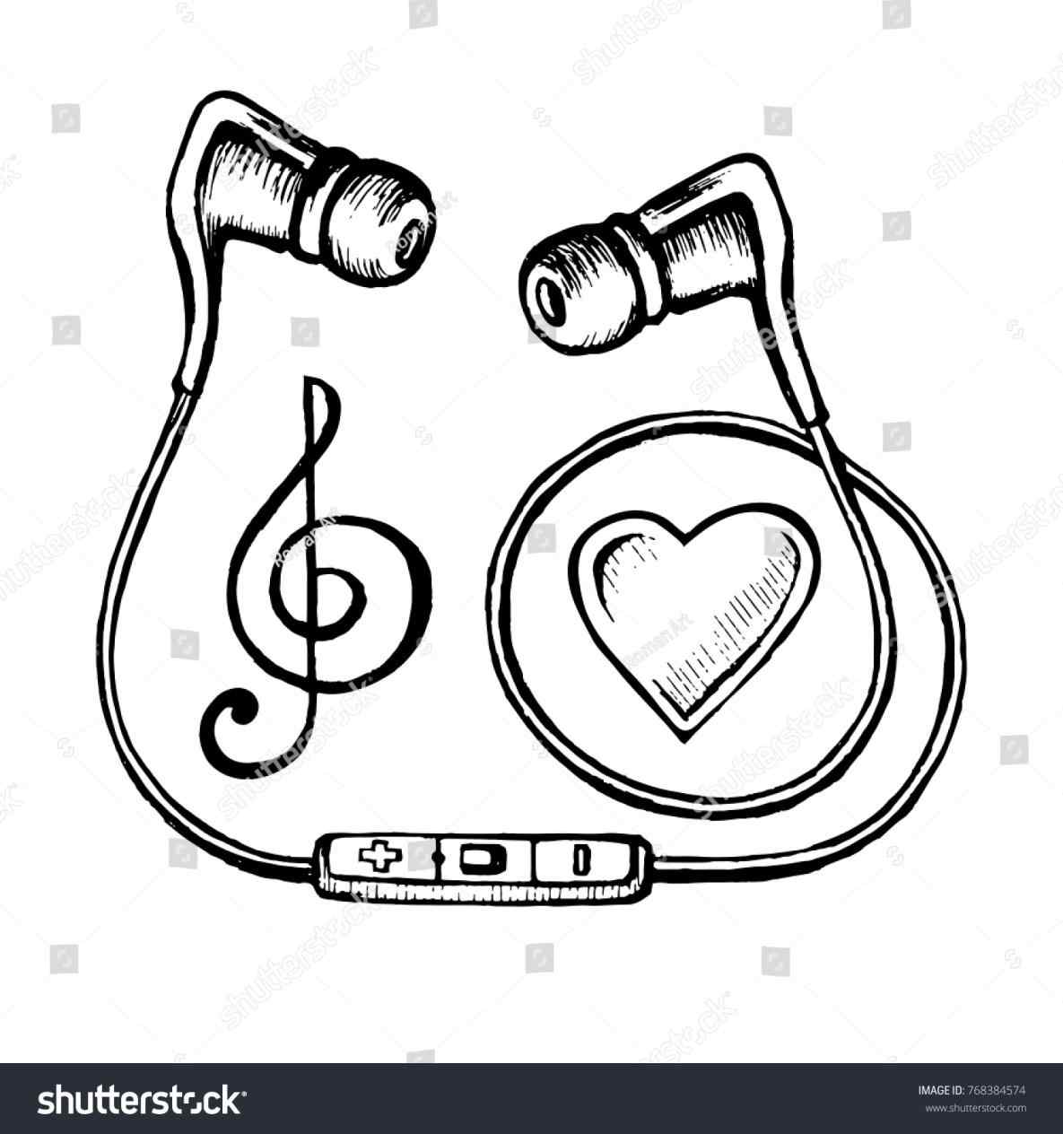 1185x1264 Vector Headphones Microphone And Music Notes Drawing Doodle Sketch