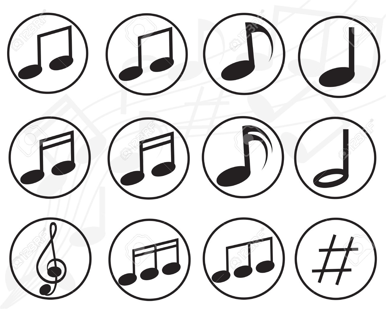 1300x1039 Music Note Sign Icon Musical Symbol Buttons Vector Royalty Free