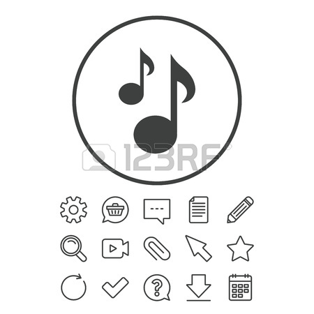 450x450 Music Notes Sign Icon. Musical Symbol. Document, Chat And Paper